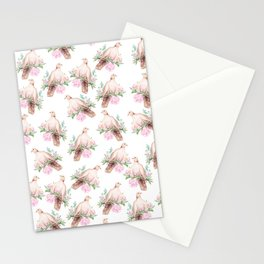 Hand painted modern pink brown watercolor peonies dove pattern Stationery Cards