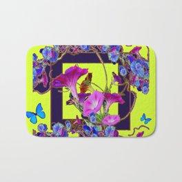 Purple Morning Glories Butterfly Patterns Chartreuse Art Bath Mat