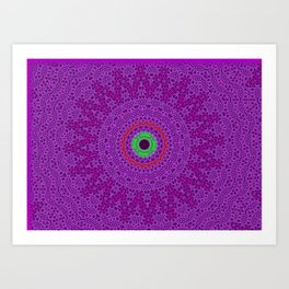 Lovely Healing Mandalas in Brilliant Colors: Purple, Pink, Red, Green and Brown Art Print