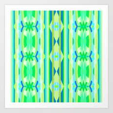 Blue yellow and green abstract Art Print