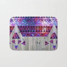Space Trip | Modern Pink Aztec Nebula Triangles On Vintage Wood Bath Mat