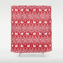 Havanese fair isle christmas sweater pattern dog breed gifts festive holidays Shower Curtain