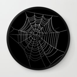 Spider Web Art | Halloween Collection | Spooky | Scary | Vector Art | Black and White Wall Clock