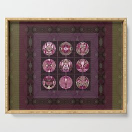 Red Shiso Positive Messages Quilt Art Serving Tray