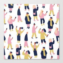 Social Media People Pattern Canvas Print