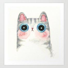 The Grey Cat Art Print