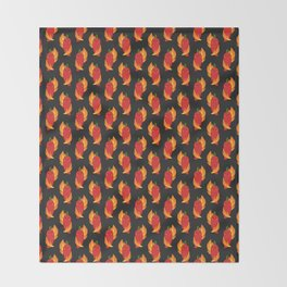 Red chili peppers and fire Throw Blanket