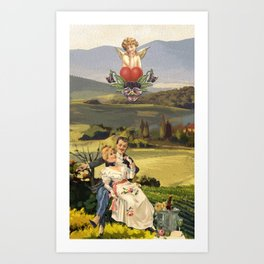 THE LOVERS TAROT CATD Art Print