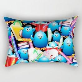 Back to School Cute Blue Birds Rectangular Pillow