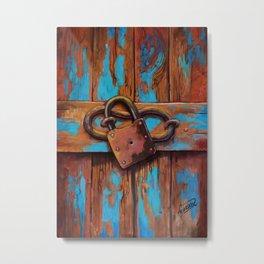 Old blue door with lock Metal Print