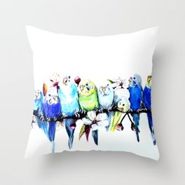 Bloomin' Budgies Throw Pillow