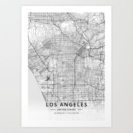 Los Angeles, United States - Light Map Kunstdrucke