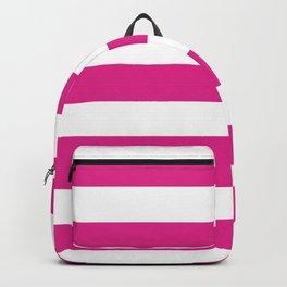 Barbie Pink (Pantone) - solid color - white stripes pattern Backpack