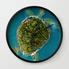 Turtle Island by the beach Wall Clock
