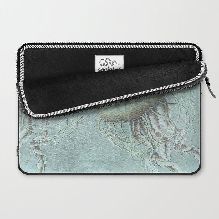 Jellyfish Underwater Aqua Turquoise Art Laptop Sleeve