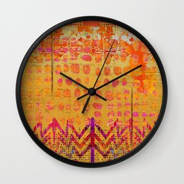 Gold and Orange Dot Abstract Art Collage Wall Clock