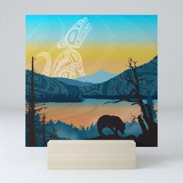 Salish Wolf Sunrise Mini Art Print