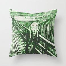 The Scream's Haze (green) Throw Pillow