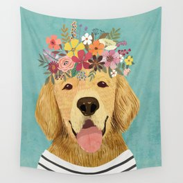Golden Retriever Dog with Floral Crown Art Print – Funny Decoration Gift – Cute Room Decor – Poster Wall Tapestry