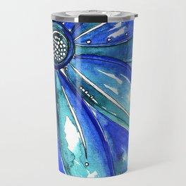 Blue Watercolor flower Travel Mug