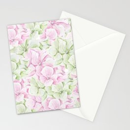 Blush pink green hand painted watercolor floral Stationery Cards