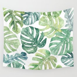 Tropical leaves Monstera leaves Jungle leaves Palm leaves Wall Tapestry