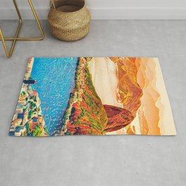 Original Art, Italy Painting, City Art, Modern Impressionist Art Rug
