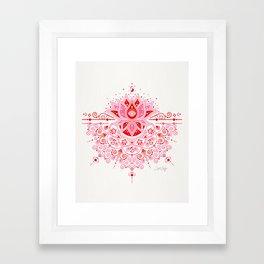 Lotus Blossom Mandala – Red & Pink Palette Framed Art Print