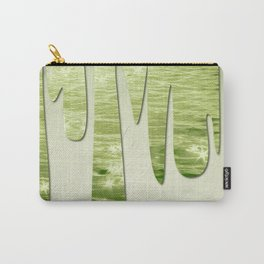 Glittery Green Ocean Dripping On Cream Textured Wall Carry-All Pouch