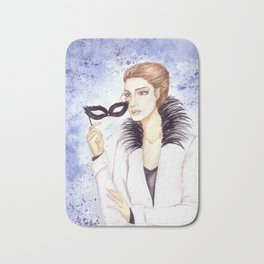 Girl with mask Bath Mat