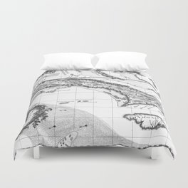 Vintage Map of Cuba and Jamaica (1763) BW Duvet Cover