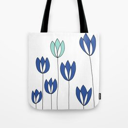 Drawing of Blue and Aqua Whimsical Tulips by Emma Freeman Designs Tote Bag