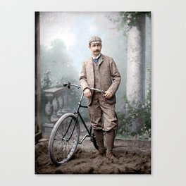 Charles James Piper (of Piper's Siding, Burnaby Lake), standing with a safety bicycle, c.1892 Canvas Print