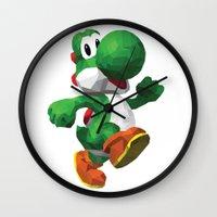 yoshi Wall Clocks featuring Yoshi Geometric by Sharna Myers