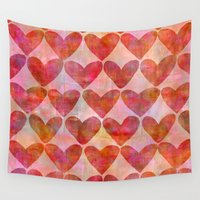 hearts Wall Tapestries featuring Hearts by LebensARTdesign