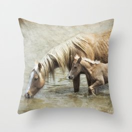 Safe By Mother's Side - South Steens Mustangs Throw Pillow