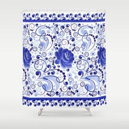 Floral ornament blue Shower Curtain