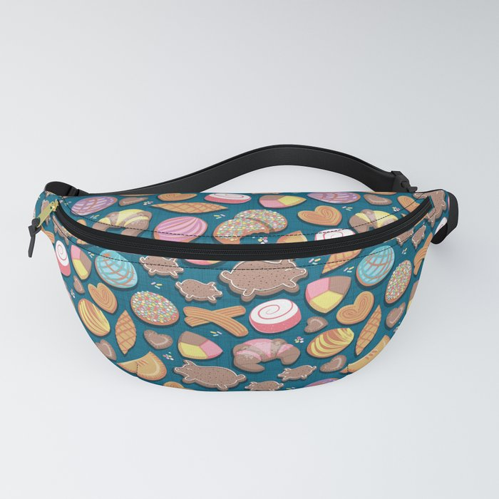Mexican Sweet Bakery Frenzy // turquoise background // pastel colors pan dulce Fanny Pack