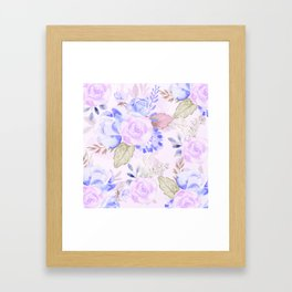 Watercolor flowers in Blue and Violet Framed Art Print