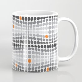 Dottywave - Grey and orange wave dots pattern Coffee Mug