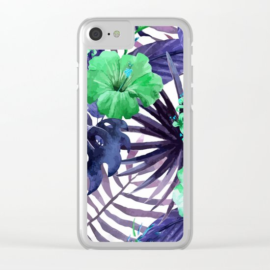 Watercolor botanical leaves Clear iPhone Case