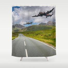 Lancaster Bomber in Snowdonia Shower Curtain