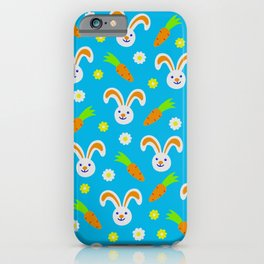 Easter Bunny and Carrots Pattern iPhone Case