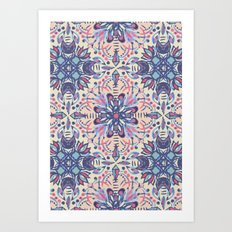 Protea Pattern in Blue, Cream & Coral Art Print