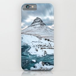 KIRKJUFELL MOUNTAIN & WATERFALL IN WINTER ICELAND LANDSCAPE iPhone Case