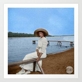 Grand Duchess Tatiana Nikolaevna of Russia in Finland - Colorized Art Print
