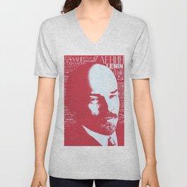 Russia, URSS Vintage Poster, Lenin Unisex V-Neck