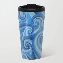 Parting Waves abstract ocean sea swirls painting Travel Mug