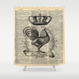 western country french chicken kitchen art farmhouse rooster Shower Curtain