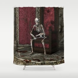 Gothic Waiting Skeleton Shower Curtain